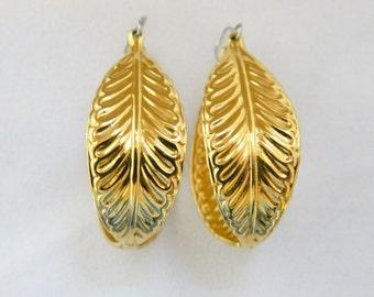"Vintage 80s Leaf Hoop Statement Earrings Gold Tone Delicate 1.75"", Dangle Drop, Retro Earrings, Costume Jewelry"