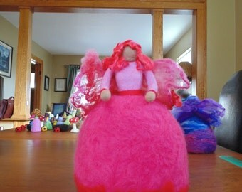 needle felted pink fairy