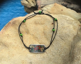 Roses in Green Choker Necklace