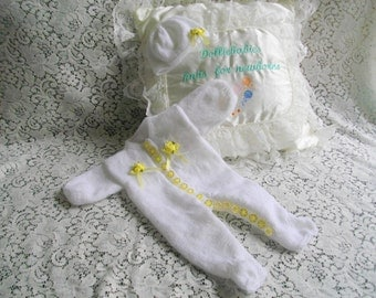 "Hand Knitted White Romper Suit for a 15-16"" Reborn Doll"
