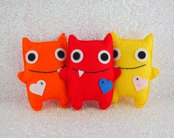 Set of 3 Felt Mini Monsters, Adopt A Monster, Monster Party, Felt Monsters, Monster Plushie, Monster Themed Party, Monster Party