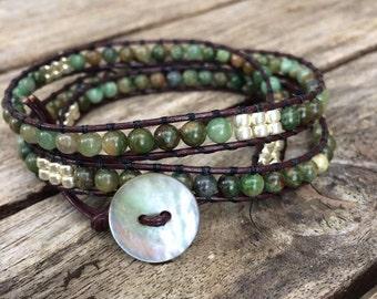 Green Phase Jasper Leather Wrap Bracelet - Natural Jasper Beaded Brscelet