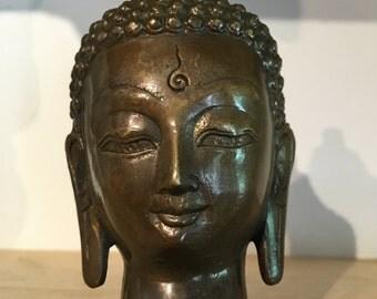 Bronze buddha,buddha head siddhartha 4 inch x 2 1/4 inch x 2 inch
