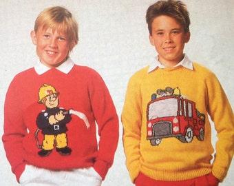 Vintage Pattern Fireman Sam Jumpers adults and childrens Knitting Patterns PDF Download