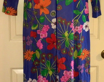 Vtg 1970s Bright Unique Funky Psychedelic Large Floral Print Lorraine Robe Housecoat Lounge Wear Sz S