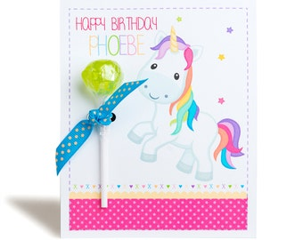 Personalised Rainbow Unicorn Lollipop Note