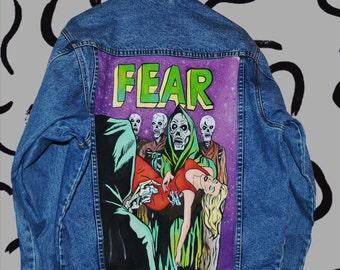 horror comics handpainted denim jacket