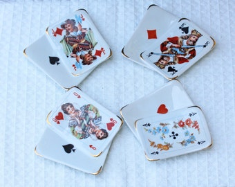Vintage Limoges Porcelain Playing Card Trinket Dishes - Set of 4