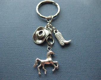 Western Key Chain - Cowboy Key Chain - Western Jewelry - Cowboy Jewelry - Cowgirl Jewelry - Key Chain -- Key Ring - Keychain - K108