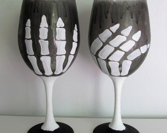 Hand-Painted Skeleton Themed Wine Glass Candleholders, set of 2
