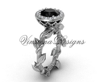 platinum diamond leaf and vine engagement ring, Black Diamond VF301015