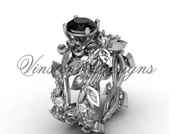 14k white gold diamond leaf and vine, Fleur de Lis, Black Diamond engagement set VD20859S