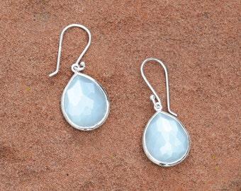 Moonstone Earrings | Pear Moonstone Earrings | Dangle Earrings | Silver Earrings  | Boho Earrings | Faceted Moonstone