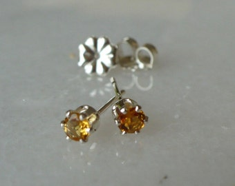 Dainty 3mm Citrine and Sterling Silver Earrings
