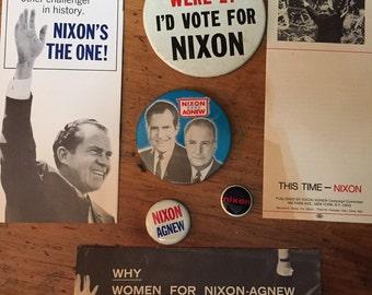 Nixon/Agnew lot of 7 Political Campaign Memorabilia