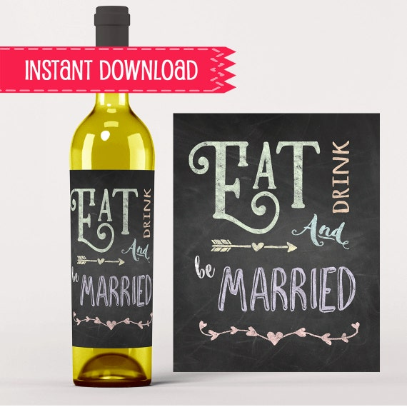 Wedding Engagement Wine Label Pdf: Fun Wine Label Eat Drink And Be Married By UptownDownloads