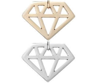 Diamond shaped (silver or gold tone) [5 pieces]