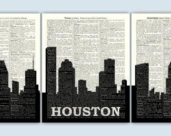 Houston Skyline Triptych, Houston Art Print, Houston Decor, Houston Wall Art, Houston Poster, Houston Gift, Set of 3 Prints