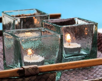 Gift box: set of three transparent Square candle holders glass bellows mouth smooth effect handmade finished hot