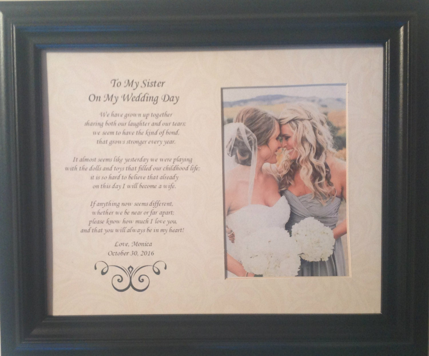 Wedding Gifts For Sisters: To My Sister On My Wedding Day Personalized Custom Gift Maid