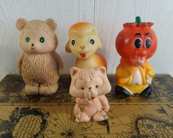 Vintage Soviet rubber toy. Set of 4 pieces. Children's toy. Rubber toy made in USSR