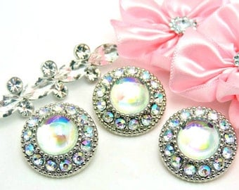 Shiny AB Iridescent Pearl Buttons W/ AB Surrounding Rhinestones Silver Acrylic Rhinestone Buttons Wedding Garment Fashion 25mm 3367 07P 14R
