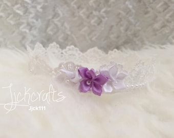 Newborn baby white lace crown photography props