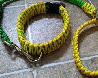 Green And Yellow  paracord collar leash set
