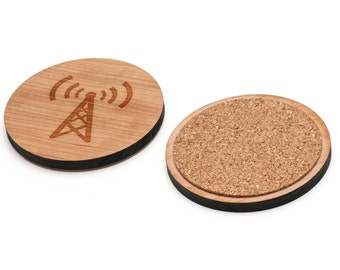Network Wooden Coasters Set of 4, Gifts For Him, Wedding Gifts, Groomsman Gifts, and Personalized