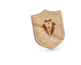 Tuxedo Lapel Pin, Wooden Pin, Wooden Lapel, Gift For Him or Her, Wedding Gifts, Groomsman Gifts, and Personalized