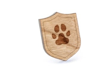 Paw Print Lapel Pin, Wooden Pin, Wooden Lapel, Gift For Him or Her, Wedding Gifts, Groomsman Gifts, and Personalized
