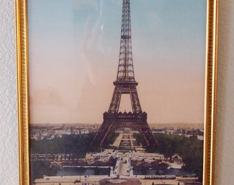 Vintage Eiffel Tower Pastel Print in Gold Framed Wall Art