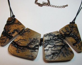 French home made wood pendant/ necklace