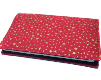 checkbook in red and gold fabric
