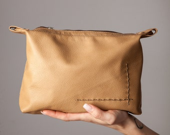 Beige Leather Pouch, Beige Leather, Zipper Pouch