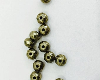 Round Faceted Metal beads(F91)- 4 colors