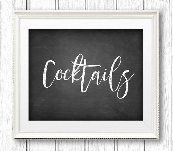 Cockails Sign, Wedding Alcohol Drink Sign, Bar Sign, DIY Rustic Chalkboard Wedding Sign, Instant Download PDF, Digital File, 8x10 #CH14