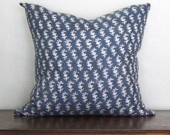 Blockprint Pillow with Brass Zipper Detail