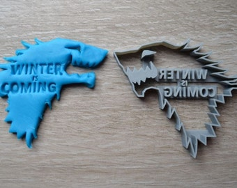 Game of Thrones Winter is Coming Stark Crest Direwolf Cookie Cutter Fondant Cutter