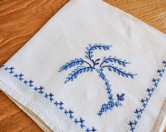 Vintage Embroidery Cotton Table Linens with Palm Tree