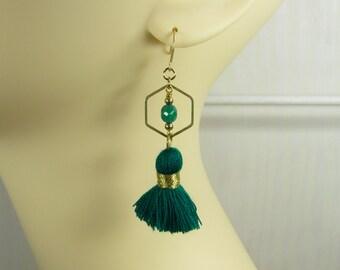 Queen of Sheba, tassel tassel earrings earrings petrol green dark green turquoise, brass gold-tone, opulent boho hippie Gypsy ethnic