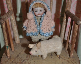 FAB antique hand knit sweater & pom pom cap for mignonette