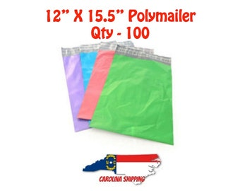 """Colorful Polymailer, 100 Polymailers, Poly Mailer, Mailer, 12"""" X 15.5"""" Polymailer, Self seal strip, Colors, Polymailer"""