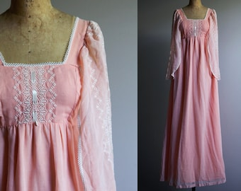 Gunne Sax Style Pink Boho Embroidered Dress