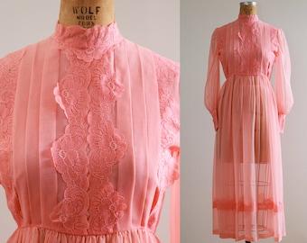 1960s Sheer Peach Maxi Dress