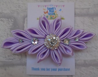Handmade Satin Kanzashi Flower Clip, flowergirl, bride, bridesmaid, special occasion, hair accessory, wedding
