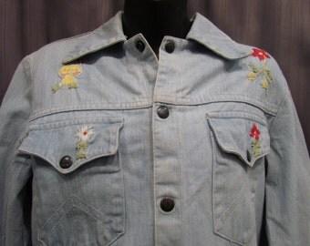 1970s Hand Embroidered Folk Art Denim Jacket Size 11/12