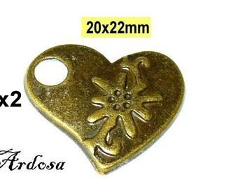 2 heart pendant with Edelweiss bronze (K168. 20)