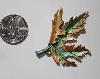 Hand Painted Maple Leaf Pendant Charm Antique Bronze Metal Green Gold