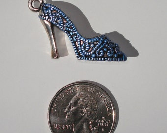 Hand Painted, 3D, Blue Ladies ShoePendant or Charm, Antique Silver Metal Tone